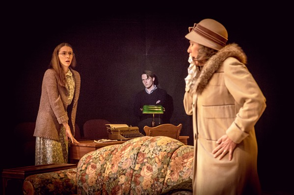 LONESOME IN A CROWD Despite living in a small, cramped apartment together, family members Laura (Madison Shaheen, left), Tom (Luke Myers, center) and Amanda (Suzy Newman, right) struggle to connect in The Glass Menagerie. - PHOTO COURTESY OF SLO REPERTORY THEATRE