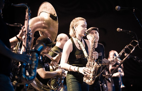 PHAT AND SASSY Brass Mash wins second place in the Open category and delivers a fantastic live performance of all-horn instrumentals. - PHOTO BY JAYSON MELLOM