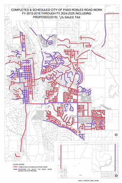 REPAIRS NEEDED Paso Robles voters rejected Measure K, a sales tax increase that would have gone towards fixing roads (highlighted in purple). - PHOTO COURTESY OF THE CITY OF PASO ROBLES