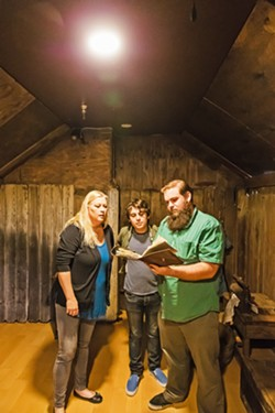 SHUT INS (pictured left to right) Sun Account Executive Jennifer Herbaugh, New Times Calendar Editor Caleb Wiseblood, and Sun Managing Editor Joe Payne helped test Gold Fever, the newest attraction at The Ultimate Escape Rooms in Solvang. - PHOTO BY JAYSON MELLOM