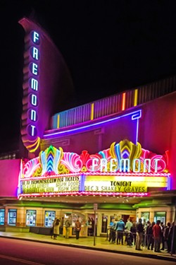 GRAND DAME Fremont Theater's soaring marquee is an iconic part of Monterey Street, and looks much like it did when the theater opened on Memorial Day 1942. - PHOTOS BY JAYSON MELLOM
