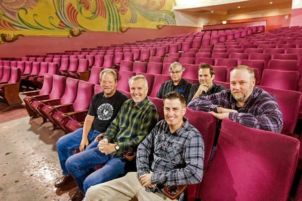 PARTNERS IN RHYME Music industry insiders (front row, left to right) Bruce Howard, JG King, Thomas Cussins, (second row, left to right) Bill Gaines, Taylor Stevens, and Dan Sheehan are The Fremont Entertainment Group, LLC, which now operates the Fremont Theater. - PHOTOS BY JAYSON MELLOM