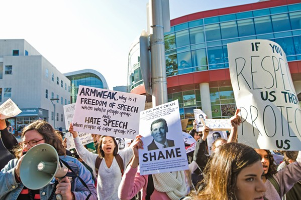 UNRAVELING HATE SPEECH Students at Cal Poly protested hate speech incidents at the end of the 2017-18 school year and called for the university's president to do more. - FILE PHOTO BY JAYSON MELLOM