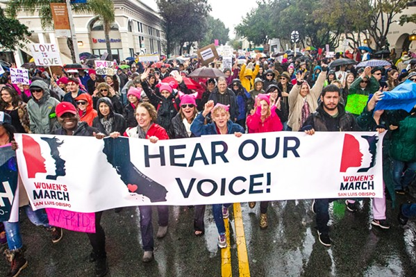 MARCHING ON Jan. 21, 2017, was a cold and rainy day but that didn't stop demonstrators from participating in the first Women's March San Luis Obispo. - FILE PHOTO COURTESY OF JAYSON MELLOM
