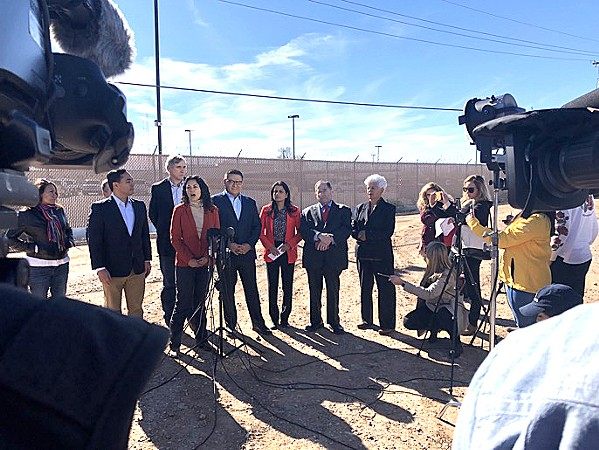 WALL WARS U.S. Rep. Salud Carbajal (D-Santa Barbara, fourth from left) challenged President Trump's calls for a wall along the southern boarder after a recent visit with other lawmakers to U.S. Customs and Border Patrol facilities in New Mexico. - FILE PHOTO COURTESY OF THE OFFICE OF REP. SALUD CARBAJAL
