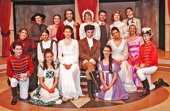 PRIDE AND PREJUDICE Misunderstandings, witty banter, heated arguments, and love ensue in Jane Austen's classic story. From left to right (starting with the back row): Mr. Collins (Phineas Peters), Charlotte Lucas (Katie Karleskint), Mr. Bennet (Jed Autier), Mrs. Bennet (Eliana Nunley), Mr. Bingley (Drew VanderWeele), Mrs. Gardiner, (Alyssa Mickey) Mr. Gardiner (Aiden Douglas), Lady Catherine (Carly Crow), Mary (Rachel Miller), Elizabeth (Penne DellaPelle), Mr. Darcy (Elliot Peters), Jane (Isabella Grznar), Caroline Bingley (Linnea Marks), Mr. Wickham (Jason Gray), Mr. Denny (Claire Romero), Kitty (Ella Gomez), and Lydia (Sophia Lea). - PHOTOS COURTESY OF SLO REPERTORY THEATRE