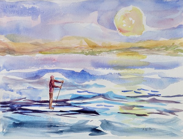 WATER AND LIGHT Paso Robles artist Alice Ronke took inspiration from the movement of the waves and paddleboarders at Cayucos beach when she created the watercolor painting, Paddleboarding. - IMAGE COURTESY OF ALICE RONKE