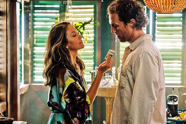 TROPIC TANGO Baker Dill (Matthew McConaughey) and his occasional hook-up, Constance (Diana Lane), steam-up the screen in his neo-noir thriller. - PHOTOS COURTESY OF GLOBAL ROAD ENTERTAINMENT