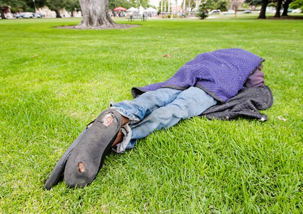 INVISIBLE PEOPLE The biennial Point In Time Count is meant to be a visual census of the number of homeless individuals living in SLO County. Due to privacy concerns, New Times was unable to take photos during the Jan. 28 count; this photo was taken for a previous story. - FILE PHOTO BY JAYSON MELLOM