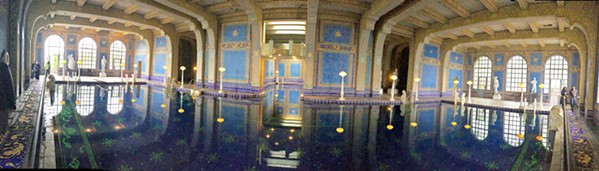 FANCY PANTS Like a Roman bath, this pool is mosaic from floor to ceiling with beautiful, shiny little blue and gold tiles, and I'm daydreaming about going for a swim. - PHOTOS BY CAMILLIA LANHAM