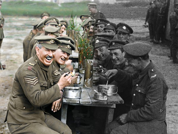 TRANSFORMED AND RESTORED Director Peter Jackson took formerly black and white, silent archival film footage, colorized it, and added sound for this documentary commemorating the 100-year anniversary of World War I's end. - PHOTOS COURTESY OF HOUSE PRODUCTIONS