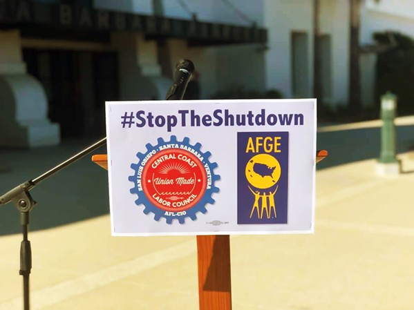 FURLOUGHED Government employees and contractors furloughed or forced to work without pay called on Congress and the president to end the federal government shutdown. - FILE PHOTO COURTESY OF  THE CENTRAL COAST LABOR COUNCIL