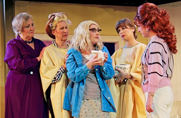 MORE THAN A SALON While the entirety of Steel Magnolias takes place in a beauty parlor, the heart of the story is the friendships between, left to right, Clairee (Patty Thayer), M'Lynn (Suzy Newman), Annelle (Katie Worley-Beck), Shelby (Rebecca Tucker), and Truvy (Eleise Moore). - PHOTOS COURTESY OF THE GREAT AMERICAN MELODRAMA