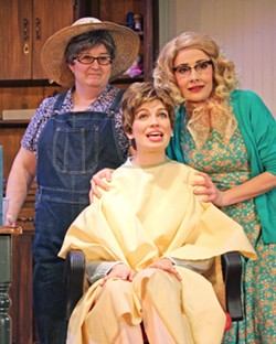 CHANGES After having her first child and dealing with lifelong health issues, Shelby (Rebecca Tucker, center) decides to cut nearly all of her hair off, which shocks Ouiser (Bonner Church, left) and Annelle (Katie Worley-Beck, right). - PHOTOS COURTESY OF THE GREAT AMERICAN MELODRAMA