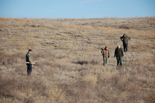 GAG ORDER Sheriff's investigators search a remote area where Nancy Woodrum's body was found in December 2018. Lawyers for her alleged killer are asking a SLO County judge to issue a gag order in the case as it moves to trial. - PHOTO COURTESY OF THE SLO COUNTY SHERIFF'S OFFICE
