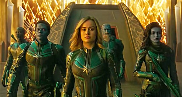 STARFORCE Vers (Brie Larson, center) struggles to recall her past as she's being trained as a Kree fighter to battle Skrulls, a shape-shifting alien race. - PHOTOS COURTESY OF MARVEL STUDIOS