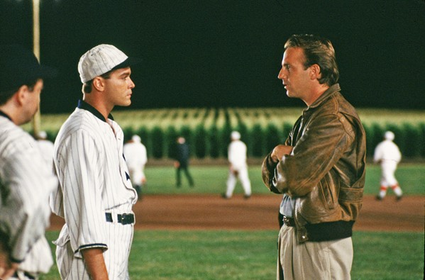 IF YOU BUILD IT The 1989 family fantasy classic, Field of Dreams, starring Ray Liotta (left) as Shoeless Joe Jackson and Kevin Costner as Iowa corn farmer Ray Kinsella, screens at the Fremont Theater on March 27, for SLO Blues Baseball's movie night. - PHOTO COURTESY OF GORDON COMPANY