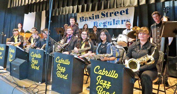 JAZZY JAMS The Cabrillo High School Jazz Band will join Corey's Rolling Figs Jazz Orchestra at the Basin Street Regulars Sunday session on March 31. - PHOTO COURTESY OF THE CABRILLO HIGH SCHOOL JAZZ BAND
