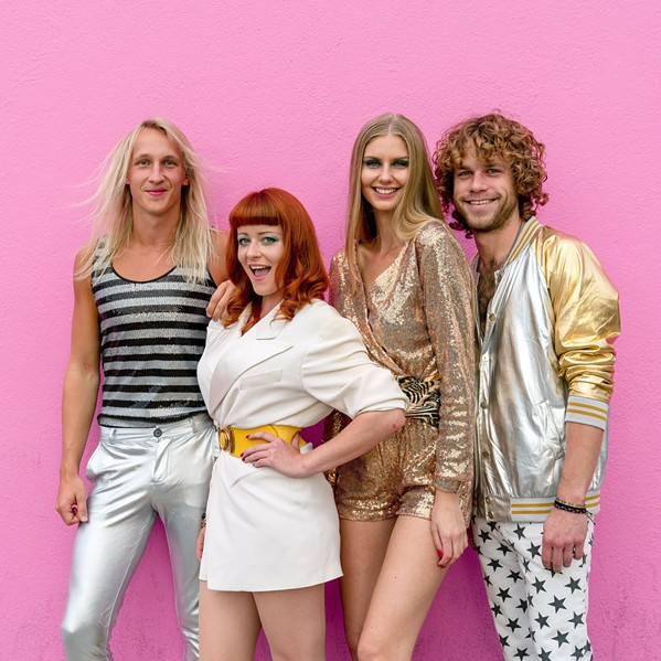 'HERE WE GO AGAIN' The SLO Brew Rock Event Center hosts ABBA tribute act ABBARAMA on April 11, featuring art and video projections by pop artist Kii Arens. - PHOTO COURTESY OF ABBARAMA