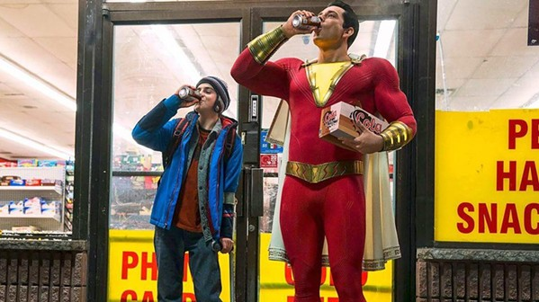 SUPER Newly minted DC superhero Shazam (Zachary Levi, right) tests out his new powers with his foster brother, Freddy (Jack Dylan Grazer), in Shazam! - PHOTO COURTESY OF WARNER BROS. AND DC ENTERTAINMENT