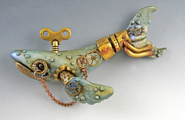 MALLEABLE Artist Christi Friesen—who creates sculptures, figurines, and jewelry using polymer clay—will teach a workshop at Art Center Morro Bay at the end of April, where participants will make their own steampunk whales. - PHOTOS COURTESY OF CHRISTI FRIESEN