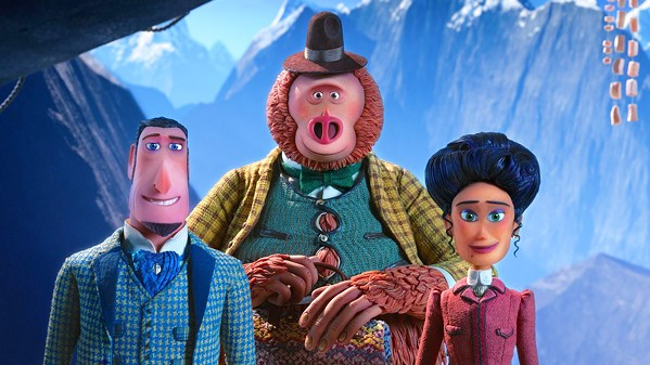 ADVENTURE TRIO (Left to right) Sir Lionel Frost (voiced by Hugh Jackman), a Sasquatch named Mr. Link (voiced by Zach Galifianakis), and Adelina Fortnight (voiced by Zoe Saldana), travel to the Himalayas in search of Mr. Link's long-lost Yeti relatives. - PHOTO COURTESY OF LAIKA ENTERTAINMENT