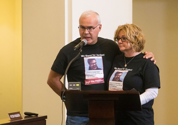 SEEKING ACCOUNTABILITY James and Becky Grant, parents of Jordan Grant, advocated for the partial closure of the El Campo intersection at an April 3 SLOCOG meeting. - FILE PHOTO BY JAYSON MELLOM