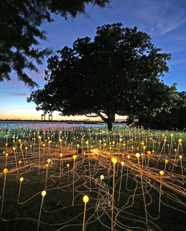 ALL IS BRIGHT Field of Light at Sensorio in Paso Robles will be artist Bruce Munro's biggest piece to date. Pictured here is Munro's Field of Light in Norfolk, Virginia. - PHOTO CREDIT: MARK PICKTHALL, © 2019 BRUCE MUNRO LTD.