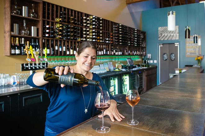 WINE TIME Luis Wine Bar owner Vanessa North is ready to serve you up a glass of wine or beer in the Best Wine Bar in SLO County. If you work downtown, it's an easy stop for an after-work de-stressor. - PHOTO BY JAYSON MELLOM