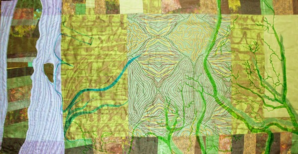 BY THE BAY San Luis Obispo artist Ellen November is inspired by aerial views of local places that result in quilt art pieces like Morro Bay Estuaries. - PHOTOS COURTESY OF ELLEN NOVEMBER
