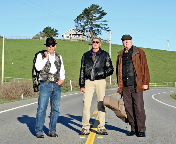 """THREE SOUL MEN (Left to right) """"Burning"""" James Scoolis, """"Bad"""" Billy Baxmeyer, and Jimmy """"Cool"""" Conroy are Burning, Bad & Cool, releasing their new EP of gospel sounds on May 31, in Cambria's Painted Sky Studios. - PHOTO COURTESY OF BURNING, BAD & COOL"""