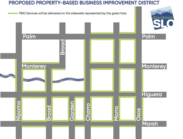 BOUNDARIES The proposed boundaries for a Property-Based Improvement District in downtown SLO are outlined in green. If approved by the majority of properties within it, the district would generate $400,000 per year for Downtown SLO. - MAP COURTESY OF DOWNTOWN SLO