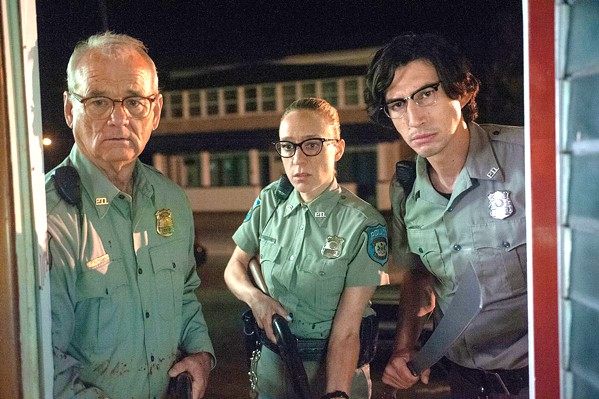 ZOMBIES? (Left to right) Centerville Police Chief Cliff Robertson (Bill Murray), and officers Mindy Morrison (Chloë Sevigny) and Ronnie Peterson (Adam Driver) are in over their heads when the dead begin to rise from their graves and feast on the living, in the new comedy horror film The Dead Don't Die, by auteur Jim Jarmusch. - PHOTO COURTESY OF ANIMAL KINGDOM
