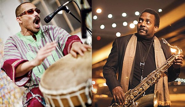 JAZZ MEN Percussionist Kahil El'Zabar and saxophonist David Murray join forces to play a free jazz show at 4 Cats Café & Gallery on June 25. - PHOTO COURTESY OF KAHIL EL'ZABAR AND DAVID MURRAY