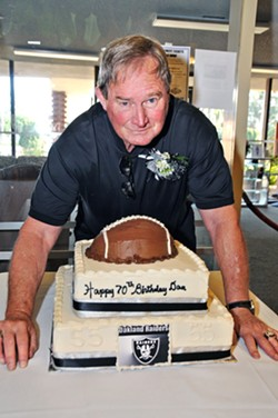 GENTLE GIANT Seven years ago, Dan Conners celebrated his 70th birthday at the SLO Elks Lodge, where the public is welcome on June 23 for the pro footballer's celebration of life. Conners died on April 28 in San Luis Obispo. - PHOTO COURTESY OF RYAN COPELAND