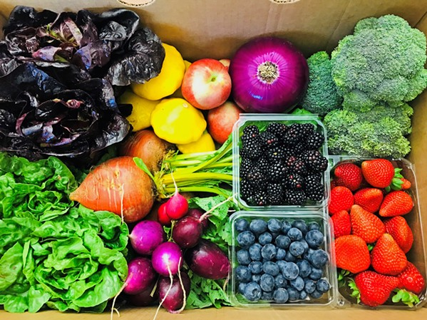 RAINBOWS IN A BOX Talley Farms Fresh Harvest CSA farm-share program offers a variety of seasonal fresh fruits and veggies delivered weekly, biweekly, and monthly to pickup locations throughout SLO and Northern Santa Barbara counties. - PHOTO COURTESY OF TALLEY FARMS