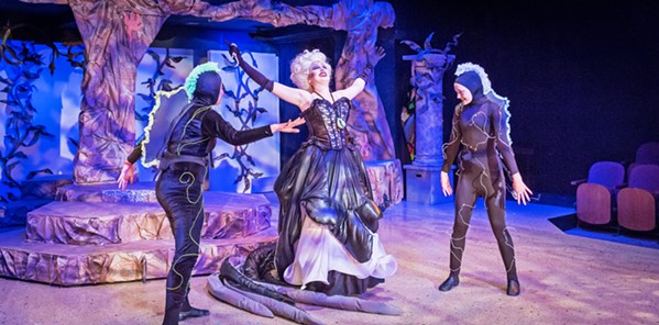 SEA WITCH! Ursula (Eliana Nunley, center) hatches an evil plan to get King Triton's kingdom and steal Ariel's voice. - PHOTOS COURTESY OF RYLO MEDIA DESIGN