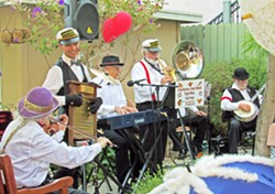 HOT SWINGING JAZZ The Crustacea Jazz Band plays the Pismo Vets Hall on July 28, during the Basin Street Regulars' monthly hot jazz concert and dance party. - PHOTO COURTESY OF THE CRUSTACEA JAZZ BAND