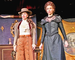THE BAD GUYS Railroad tycoon Johnson (Rachel Tietz, right) and cattle baron Johnson (Katie Pautler) scheme up devious ways to get their hands on coveted land. - PHOTOS COURTESY OF THE GREAT AMERICAN MELODRAMA