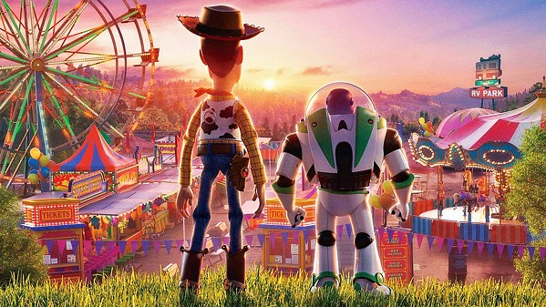 STRANGE NEW WORLD Woody (voiced by Tom Hanks, left) and Buzz Lightyear (voiced by Tim Allen) search for a missing toy, in Toy Story 4. - PHOTO COURTESY OF PIXAR ANIMATION STUDIOS