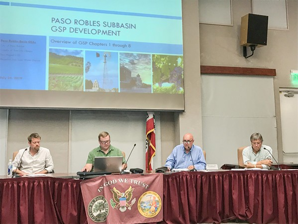 COOPERATING The Paso Basin Cooperative Committee (pictured) is charged with adopting a plan to bring the Paso aquifer into sustainability. Board members include, left to right, Matt Turrentine of the Shandon-San Juan Water District, Joe Parent of the San Miguel CSD, SLO County 1st District Supervisor John Peschong, and Paso Robles City Councilmember John Hamon. - PHOTO BY PETER JOHNSON