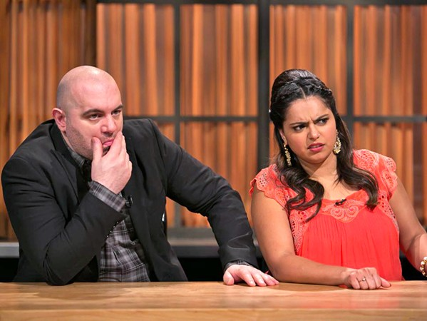 CAN'T LOOK AWAY Recurring Chopped judges Chris Santos (left) and Maneet Chauhan (right) watch in horrified agony as competitors make insane decisions, which is pretty much how I feel sometimes when watching the show. - PHOTO COURTESY OF FOOD NETWORK