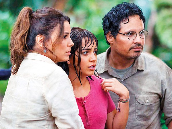 SAVE THEM! When her parents Elena (Eva Longoria, left) and Cole (Michael Peña, right) disappear, Dora (Isabela Moner, center) leads her friends on a search for them, in Dora and the Lost City of Gold. - PHOTO COURTESY OF PARAMOUNT PLAYERS