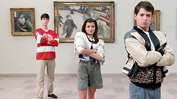 DANKE SCHOEN High schooler Ferris Bueller (Matthew Broderick, right), with girlfriend Sloane (Mia Sara, center) and dour bestie Cameron (Alan Ruck, left) is determined to skip school and have a great day, in Ferris Bueller's Day Off, screening Aug. 23, in the Fremont Theater. - PHOTO COURTESY OF PARAMOUNT PICTURES