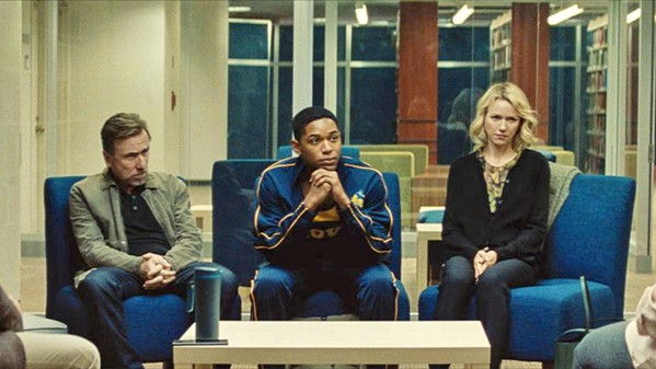 CONFRONTED Accomplished student and athlete Luce's (Kelvin Harrison Jr., center) stellar reputation is called into question after his teacher discovers something shocking in his locker, in Luce. - PHOTO COURTESY OF TOPIC STUDIOS