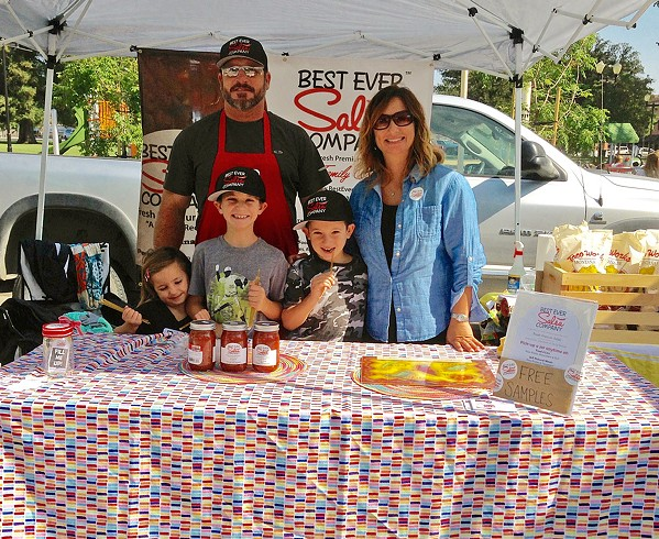 CHIPS AND FAMILY The Twisselmans have been selling their Best Ever Salsa locally for almost 20 years. Here is Curtis—a heavy-equipment operator by day and salsa-maker by night—and full-time salsa-maker and mom Karli Twisselman with their children (from left) Kaysee (age 7), Aidan (12), and Taylor (10). - PHOTOS COURTESY OF KARLI TWISSELMAN