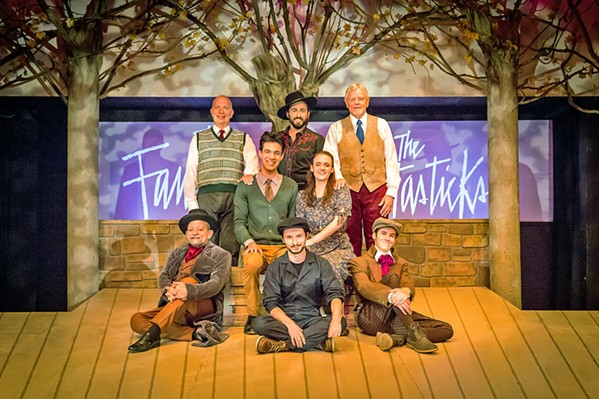 THE CAST Members of The Fantasticks cast pose on stage. Top row, from left: Billy Breed (Hucklebee), Tony Costa (El Gallo), John Lambie (Bellomy). Middle row from left: Ashur Gharavi (Matt), Taylor Hart (Luisa). Bottom row, from left: Mike Mesker (The Actor), Elliot Peters (The Mute), Phineas Peters (Mortimer, The Man Who Dies). - PHOTOS COURTESY OF RYLO MEDIA DESIGN, RYAN C. LOYD