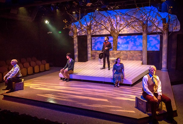 'THE FIRE OF SEPTEMBER' Set in fall, The Fantasticks is staged with autumnal trees and soft pink lighting hues. - PHOTOS COURTESY OF RYLO MEDIA DESIGN, RYAN C. LOYD