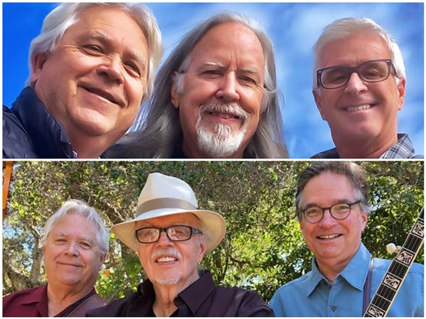 BADASS BLUEGRASS The Cache Valley Drifters (top) and Crary, Evans, and Barnick (bottom) play the Painted Sky Studios concert series on Oct. 18. - PHOTO COURTESY OF PAINTED SKY STUDIOS
