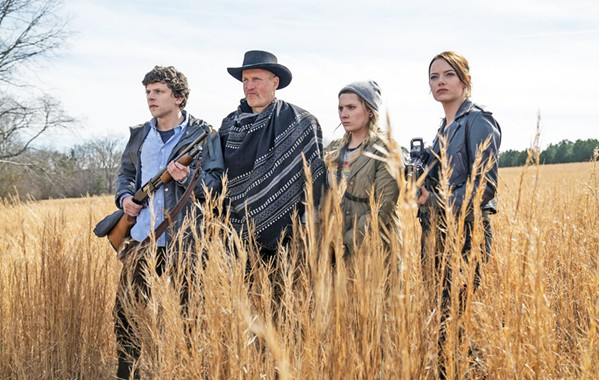 THEY'RE BACK! Dysfunctional quasi-family and zombie apocalypse survivors (left to right) Columbus (Jesse Eisenberg), Tallahassee (Woody Harrelson), Little Rock (Abigail Breslin), and Wichita (Emma Stone) return in Zombieland: Double Tap. - PHOTO COURTESY OF COLUMBIA PICTURES